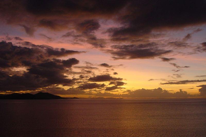 pink sky over fiji